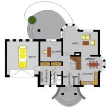 Dom z dwoma wykuszami i gankiem - parter