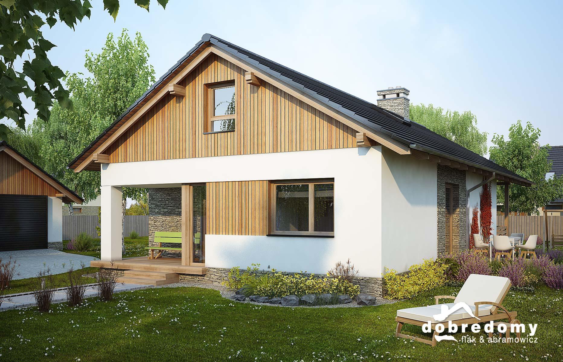 Dom w stylu rustykalnym z wykorzystaniem drewnianej okładziny